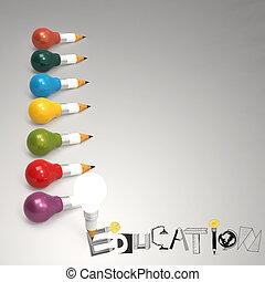 twórczy, projektować, ręka, pociągnięty, wykształcenie, słowo, i, lekka bulwa, 3d, jak, pojęcie