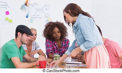 twórczy, sesja, brainstorming, posiadanie, drużyna