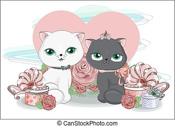 tw? cats with heart and gifts in roses