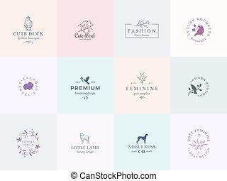 twaalf, abstract, tekens & borden, logo, jachthond, kwaliteit, set., retro, voorbeelden, premie, lam, illustratie, eend, vrouwelijk, typografie, floral, elephant., vogels, vector, fijn, emblems., of