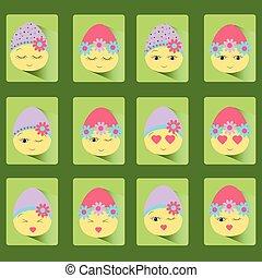 twaalf, eggs-smile., set, pasen, iconen