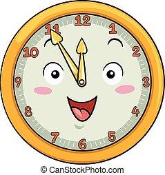 twaalf, klok, na, vijftig, vijf, mascotte