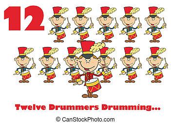 twaalf, trommelen, drummers