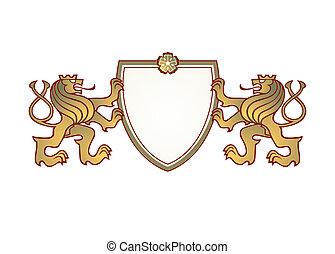 twain, heráldica, corona, leones