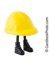 twardy kapelusz, pracownik