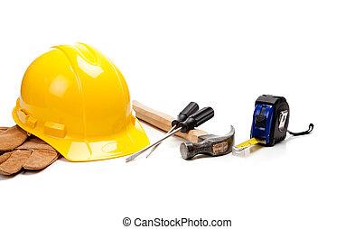 twardy kapelusz, rękawiczki, i, narzędzia, na, niejaki, białe tło