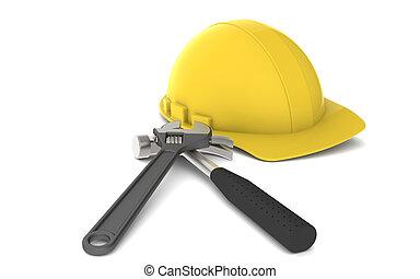 twardy, narzędzia, kapelusz