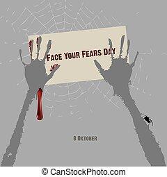 twarz, dzień, twój, obawy