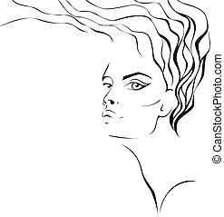 twarz, kobieta, falisty, hair.