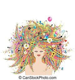 twarz, kwiatowy, fryzura, kobieta, świąteczny