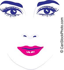 twarz, oczy, wektor, ilustracja, kobieta