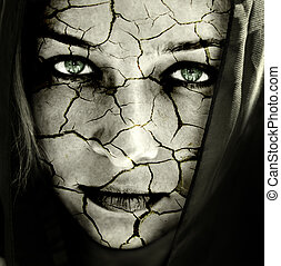 twarz, od, kobieta, z, pęknięty, skóra