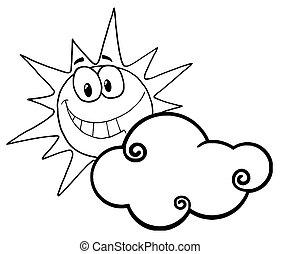 twarz, słoneczny, uśmiechanie się, konturowany