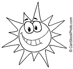 twarz, słoneczny, uśmiechanie się
