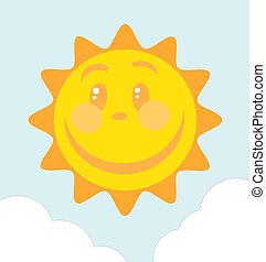 twarz, uśmiech, wielki, słońce