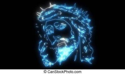 twarz, video, ożywienie, jezus