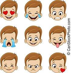 twarz, wyrażenia, emoji, chłopiec