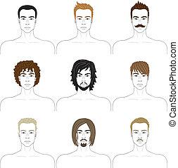 twarze mężczyzn, komplet