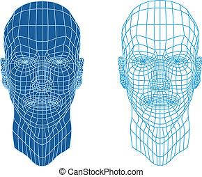 twarze, wireframe