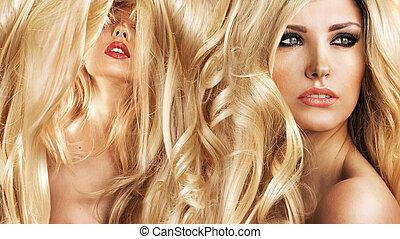 twee, aantrekkelijk, blonde , dames, in, een, knapheid salon