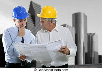 twee, architect plan, team, hardhat, expertise, ingenieur