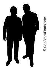 twee, arm, mannen, silhouette