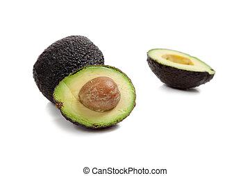 twee, avocado's, op wit