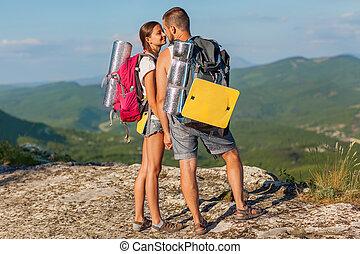 twee, backpackers, in, bergen.