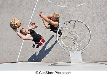 twee, basketbal spelers, op, de, versieren