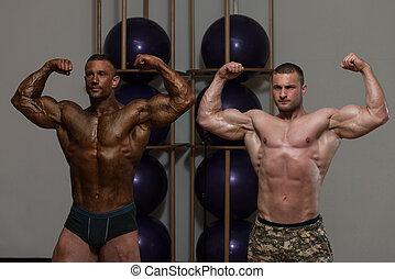 twee, bodybuilding, competitie, mannen