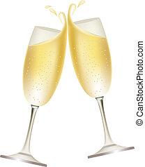 twee, bril, volle, van, champagne