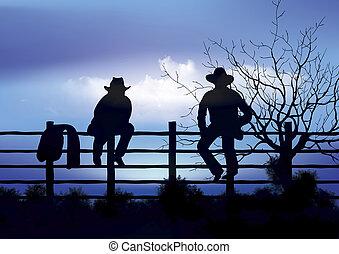 twee, cowboy, zittende , op, omheining
