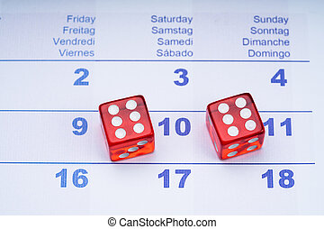twee, dobbelsteen, kalender, transparant, rood