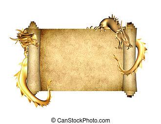 twee, draak, boekrol, perkament, oud
