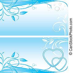 twee, floral, achtergronden, voor, spandoek