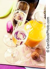 twee, fluit, bril, gevulde, met, champagne