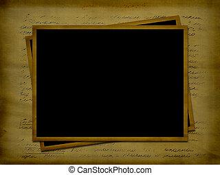 twee, frameworks, voor, foto's, op, de, oud, brief