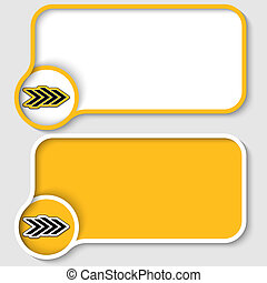 twee, gele, tekst, frame, en, abstract, richtingwijzer