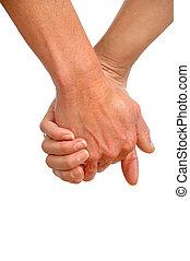 twee, generaties, handen