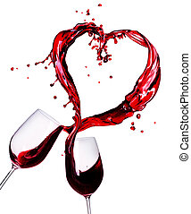 twee, glazen rode wijn, abstract, hart, gespetter