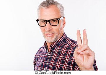 twee, grijs, oud, gesturing, bril, man, vingers