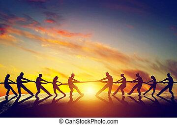 twee, groepen van mensen, het trekken, lijn, spelend,...