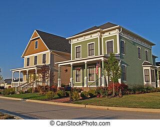 twee, groot, historisch, gestyleerd, twee-verhaal, huizen