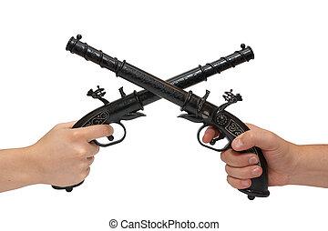 twee handen, met, een, oud, pistool