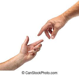 twee handen, reiken, elkaar