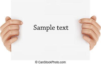 twee handen, vasthouden, zakelijk, object.