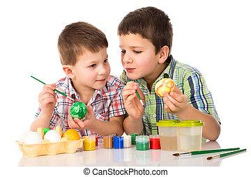 twee, het glimlachen, geitjes, schilderstuk pasen eieren, samen, aan tafel