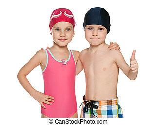 twee, het glimlachen, kinderen, in, badkleding