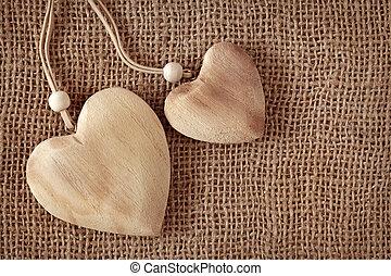 twee, houten, hartjes