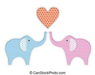 twee, illustratie, olifanten, schattig